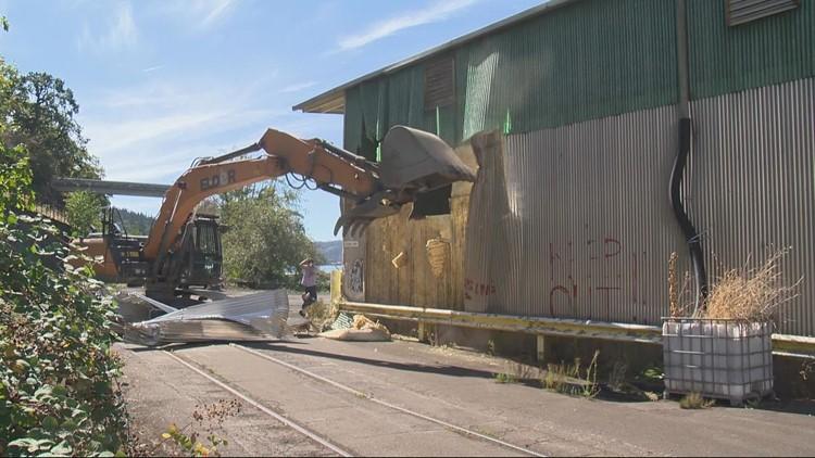Demolition begins at Blue Heron paper mill site