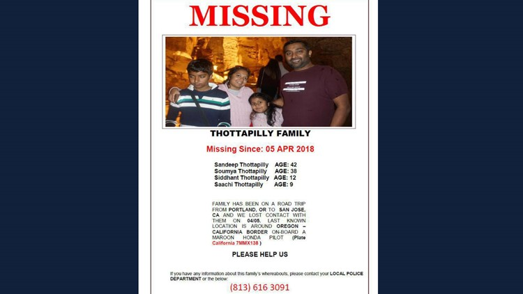A flyer for the missing family.