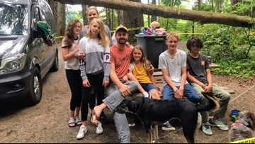 Utah family escapes injury after large tree falls on their campsite at Cannon Beach