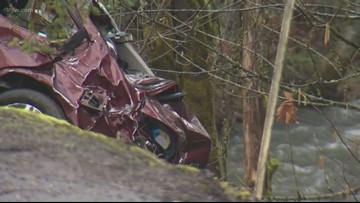 Watch: Driver crashes into creek during high-speed chase, passenger rescued from wrecked car