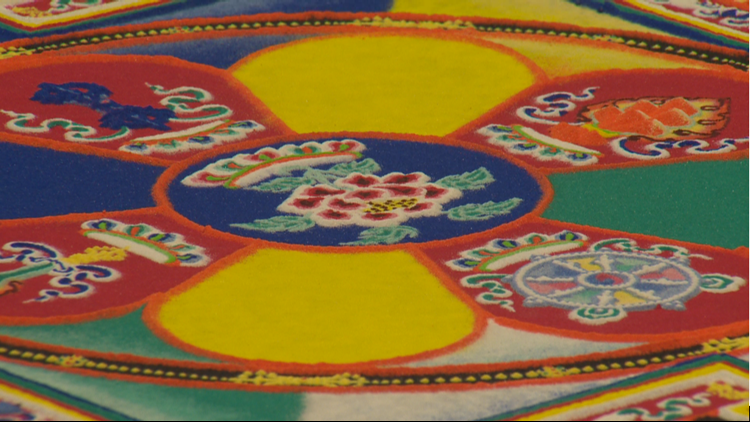 'Everything is impermanent': Buddhist monks create, then destroy sand mandala at Clark College