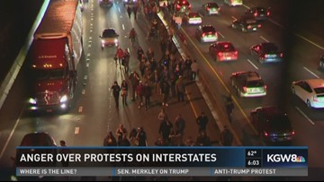Drivers frustrated as anti-Trump protesters block traffic