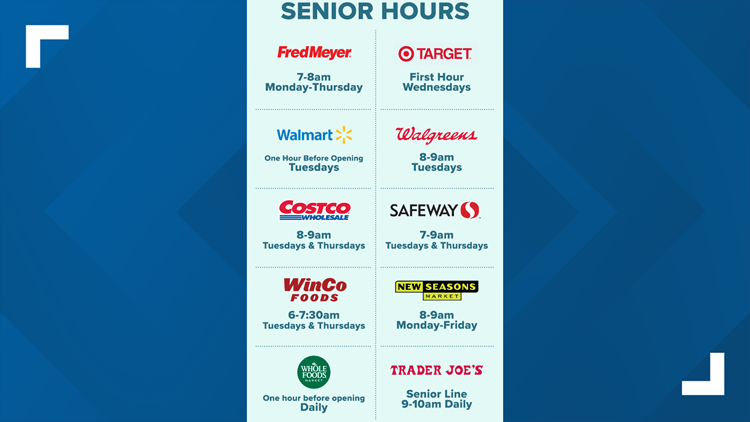 Senior hours for grocery shopping during the coronavirus pandemic