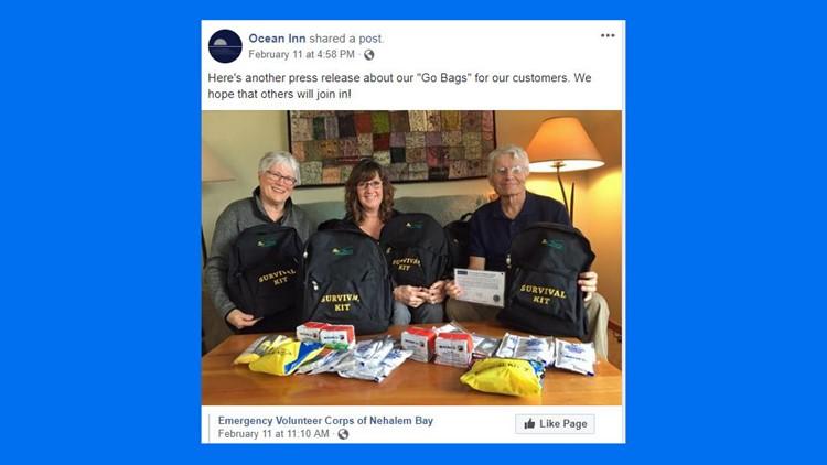 Tsunami 'Go Bags' being offered by Oregon coast hotel