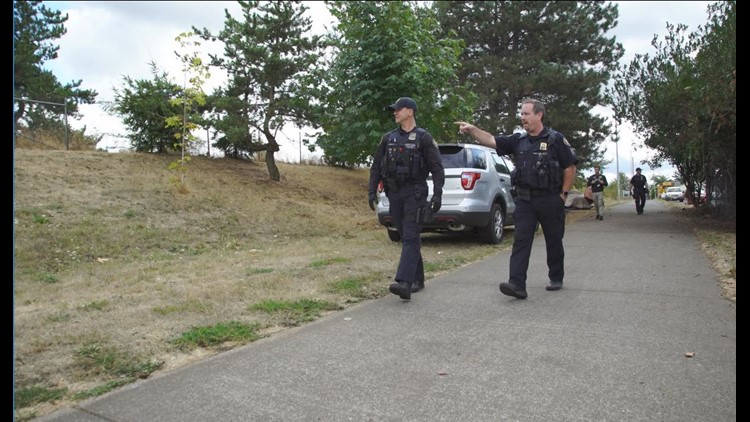 Portland police Sgt. Randy Teig on the multi-use path along the Columbia River, where he regularly patrols homeless camps