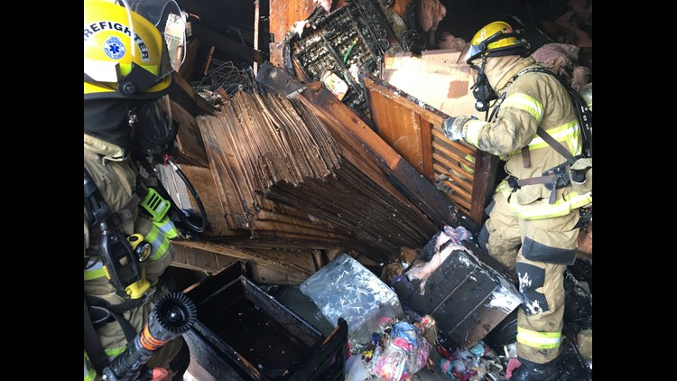 Shelf and contents that fell on firefighter.