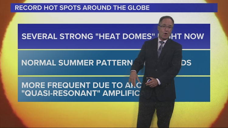 Multiple heat domes forming across northern hemisphere