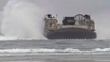 US Navy lands two massive hovercrafts on Oregon beach (video)