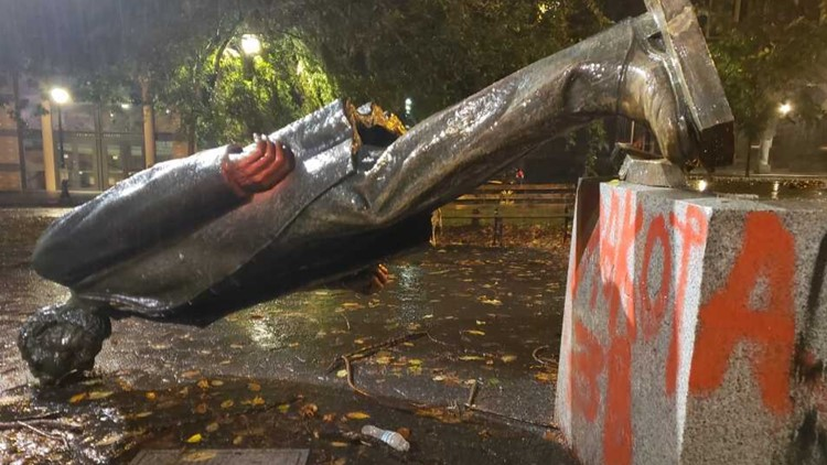 Protesters tore down 3 statues of US presidents in Portland last year. What happened to them?