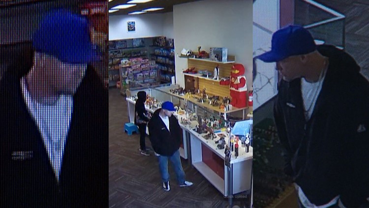 The suspect in a Portland Lego robbery is still at large. These images are from surveillance video of the theft.