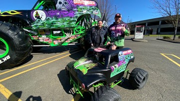 An Oregon City boy is gifted a custom 'Grave Digger' monster truck costume for his wheelchair