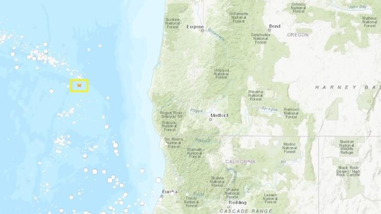 Location of magnitude 4.7 earthquake off the Southern Oregon Coast on Oct. 17, 2019.