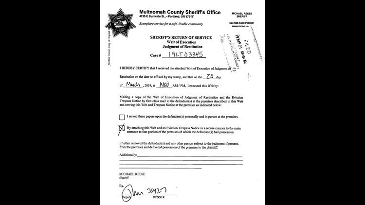 Sheriff's writ of execution