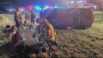 Victims speak after surviving scary hit-and-run rollover crash near Sherwood