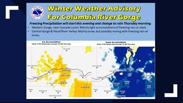 Freezing rain, snow falls in Columbia River Gorge