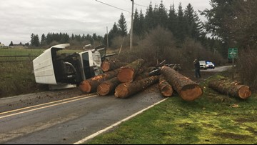 Truck spills logs on NW Old Cornelius Pass Road after reported brake failure
