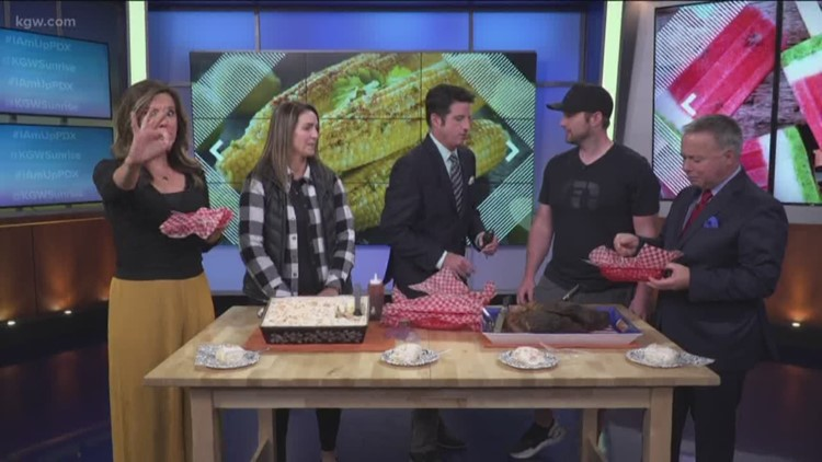 The Sunrise crew samples brisket and Hawaiian Delight Cake