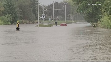 Heavy rains lead to street flooding in Washington County