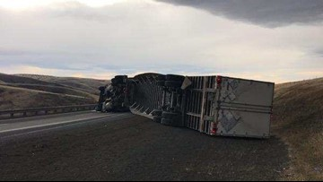 Semi-truck blown over by strong winds on I-84 in Eastern Oregon