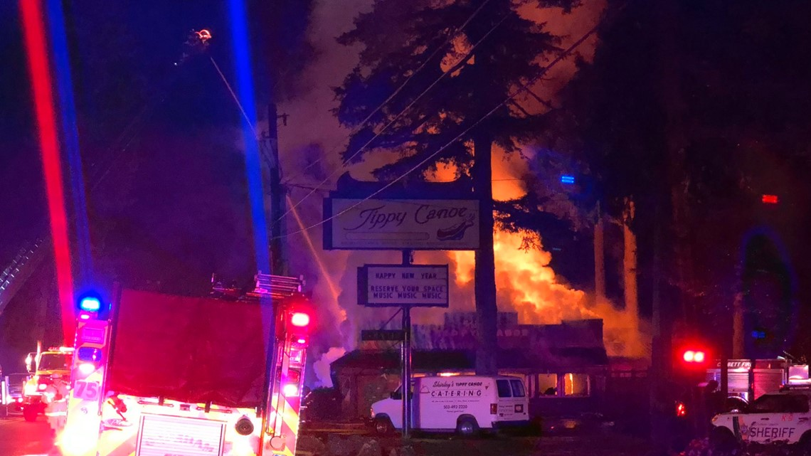Photos: Fire destroys popular Shirley's Tippy Canoe restaurant outside Troutdale