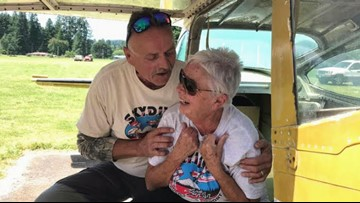 Clark County great grandma skydives to help veterans