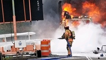 Fiery semi crash closes southbound I-5 north of Woodburn