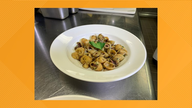 Chickpea shell pasta with olive tapenade