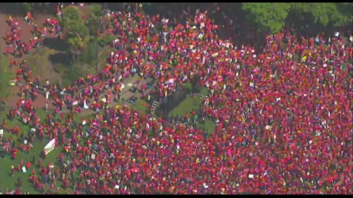 Teachers rally at Waterfront Park in Portland for education funding