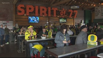 Ducks fans gather at Spirit of 77 bar for a Redbox Bowl watch party