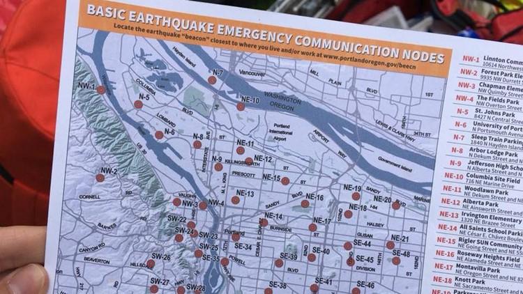 Map of basic earthquake emergency communication nodes