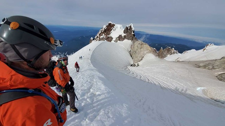 The view during Pat Dooris' climb to the summit of Mount Hood