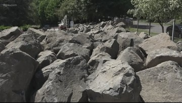 Neighbors pleased as ODOT replaces roses with boulders to deter homeless