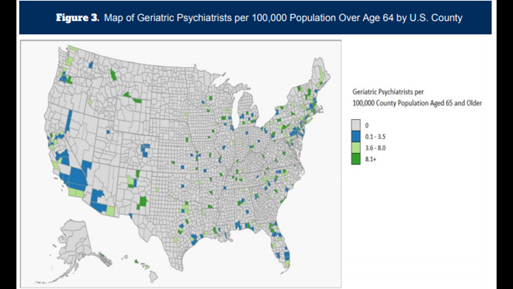 Geriatric psychiatrists per 100,000 people over 64 years old