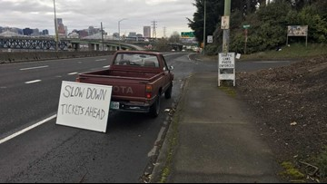 Slow down, tickets ahead': Makeshift sign warns drivers of