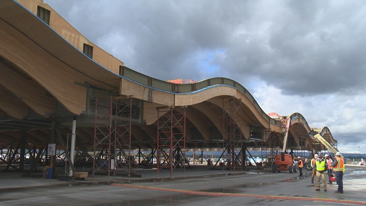 A look at the new all-wood roof that will come to PDX main terminal in 2022