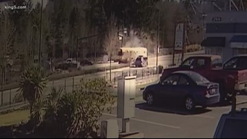 Video shows SUV slamming into school bus in Washington