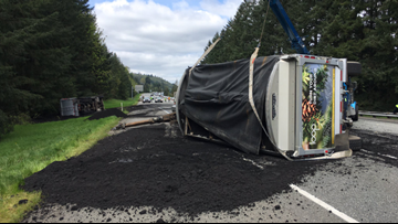 Human waste spilled onto I-90 in Washington after semi driver falls asleep