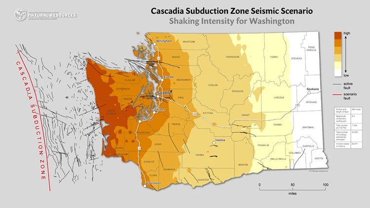 The Cascadia Subduction Zone and which areas will feel the most intense shaking from seismic activity. Map: Department of Natural Resources.