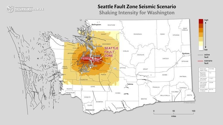 The Seattle Fault zone and which areas will feel the most intense shaking from seismic activity. Map: Department of Natural Resources.