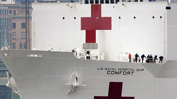 Navy hospital ship in New York with 1,000 beds has 20 patients