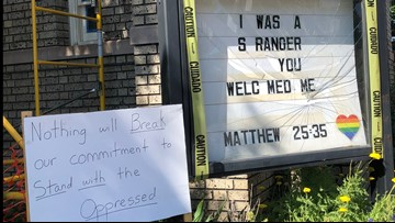 A Denver church wrote a message about immigration; the sign was shattered