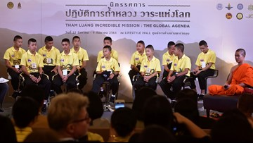 Boys trapped in Thai cave share story at Bangkok mall