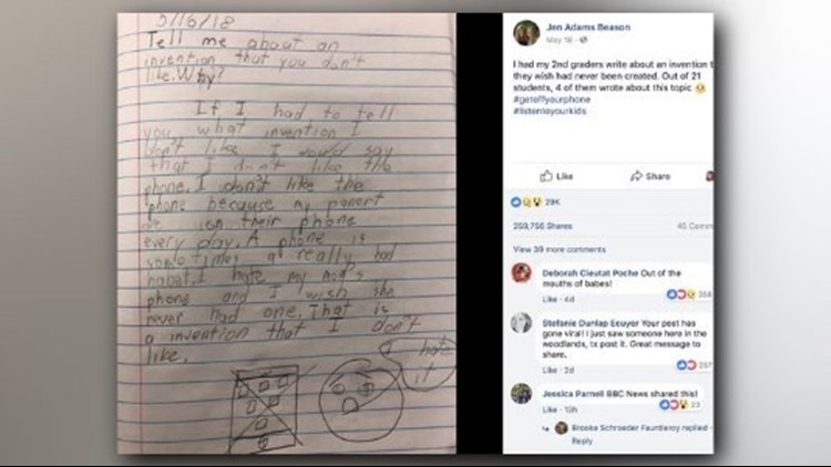 A Louisiana teacher asked her 2nd graders to complete an assignment telling her what piece of technology they wish wasn't invented. She said 4 of them said phones.