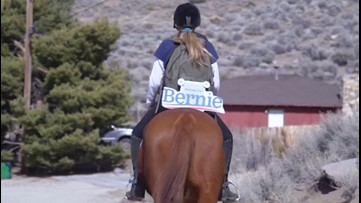 Canvassers Take to Horseback in Support of Bernie Sanders Ahead of Nevada Caucus