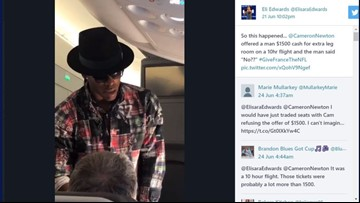 Man turns down NFL MVP Cam Newton's $1,500 offer to switch seats on Paris to U.S. flight