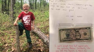 Third grader gives teacher his birthday money because he doesn't think she's paid enough